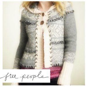 Free People Nordic Fair Isle Hood Wool Cardigan L